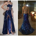 Royal Blue One Shoulder Beaded Sequin Long Prom Dress With Slits