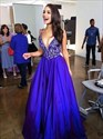 Royal Blue V Neck Lace Applique Bodice Long Ball Gown Prom Dress