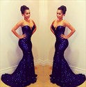 Navy Blue Strapless Sweetheart Sequin Mermaid Long Evening Dress