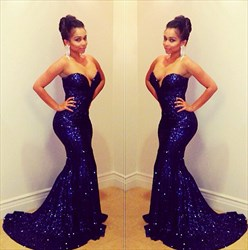 Navy Blue Strapless Sweetheart Sequin Mermaid Long Evening Dress