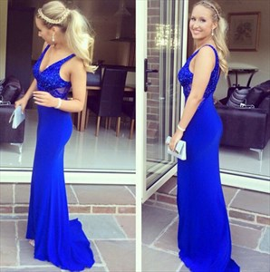 Royal Blue V Neck Sequin Embellished Top Chiffon Sheath Prom Dress