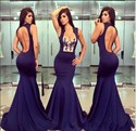 Grape Lace Embellished Open Back Mermaid Long Evening Dress