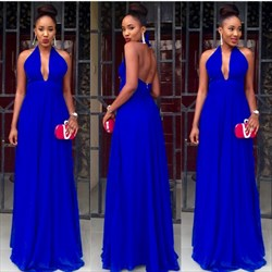 Royal Blue Halter Neck Open Back A Line Long Chiffon Prom Dress