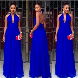 Royal Blue Halter Neck Open Back A Line Long Chiffon Prom Dress