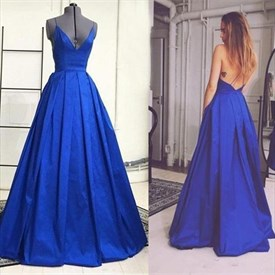 Royal Blue Spaghetti Strap V Neck Open Back Ball Gown Prom Dress