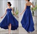 Royal Blue Sweetheart Empire Waist Beaded High Low Bridesmaid Dress