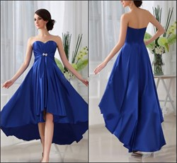 Royal Blue Sweetheart Empire Waist Beaded High Low Bridesmaid Dress