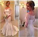 White Off The Shoulder Lace Applique Mermaid Long Sleeve Wedding Dress
