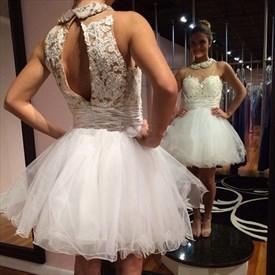 White High Neck Sheer Neckline Lace Embellished Short Party Dress