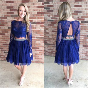Royal Blue Two Piece Long Sleeve Beaded Lace Short Formal Dress