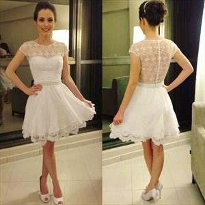 White Cap Sleeve Lace Bodice Sheer Back Beaded Waist Short Dress