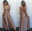 Pastel Pink V Neck Criss Cross Back Long Prom Dress With Straps