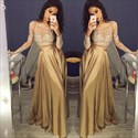 Champagne Two Piece Sheer Lace Top Long Sleeve A Line Formal Dress