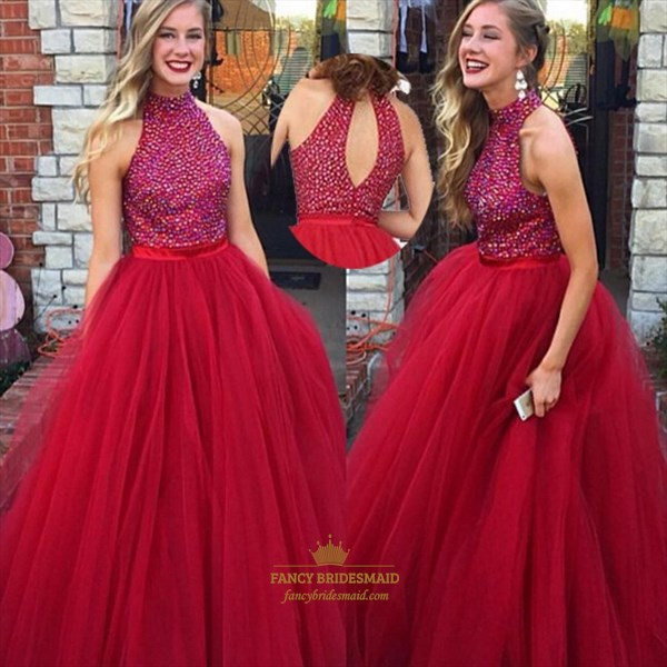 Burgundy High Neck Beaded Top Ball Gown Prom Dress With Keyhole Back