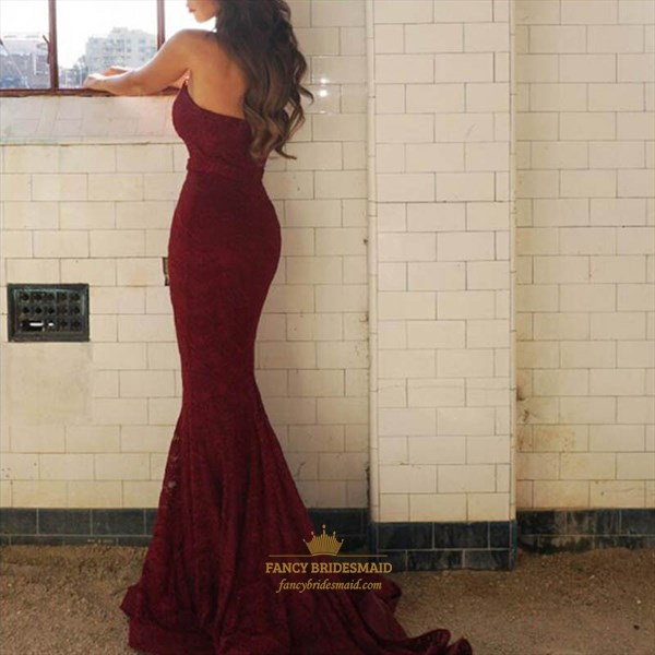 Burgundy Strapless Lace Mermaid Full Length Bridesmaid Dress