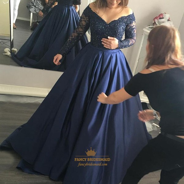 Navy Blue Beaded V Neck Off The Shoulder Long Sleeve Evening Dress