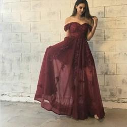 Burgundy Off The Shoulder Sweetheart Lace Applique Long Formal Dress