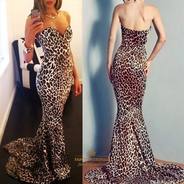 Leopard Print Strapless Sweetheart Mermaid Full Length Prom Dress