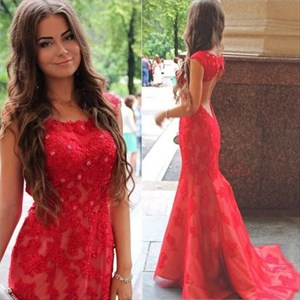 Red Cap Sleeve Backless Beaded Embellished Full Length Mermaid Gown