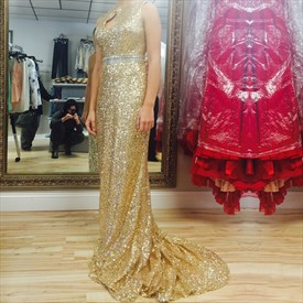 Gold Sequin Floor Length Bridesmaid Dress With Keyhole Front