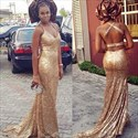 Champagne Halter Sequin Open Back Full Length Evening Dress