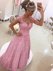 Pink Lace Applique Cap Sleeve Beaded Sheer Back Long Evening Dress
