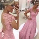 Pink Lace Applique Cap Sleeve Beaded Sheer Back Long Evening Dress