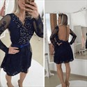 Navy Blue Beaded Lace Illusion Long Sleeve Short Cocktail Dress