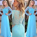 Aqua Blue Lace Long Sleeve Chiffon Full Length A Line Formal Dress