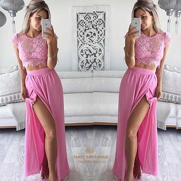 Pink Two Piece Lace Top Cap Sleeve Side Slit Long Prom Dress