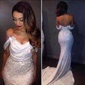 White Off The Shoulder Sequin Embellished Long Formal Dress