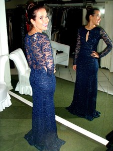 Navy Blue Long Sleeve Lace Full Length Prom Dress With Keyhole Front