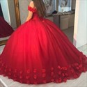 Red Off The Shoulder Lace Applique Tulle Ball Gown Wedding Dress