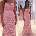 Pink Strapless Sweetheart Backless Lace Floor Length Bridesmaid Dress