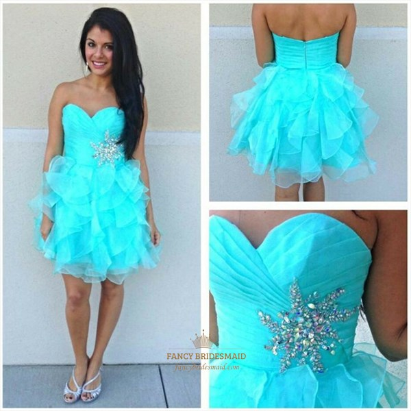 Aqua Blue Strapless Ruched Beaded Waist Short Party Dress