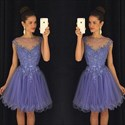 Lavender Sheer Neck Beaded Embellished Cap Sleeve Short Cocktail Dress