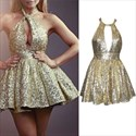 Gold Halter Backless Sequin Short Homecoming Dress With Keyhole Front