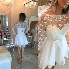 White Sheer Lace Long Sleeve Knee Length Homecoming Party Dress