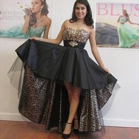 Black Strapless Sweetheart Beaded Bodice High Low Formal Dress