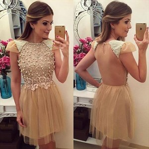 Champagne Beaded Top Cap Sleeve Short Cocktail Dress With Sheer Back
