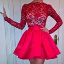 Red Sheer Lace Bodice Long Sleeve Knee Length Cocktail Dress