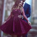 Burgundy Embellished Sheer Long Sleeve Short Homecoming Dress