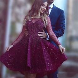 Burgundy Embellished Sheer Long Sleeve Short Homecoming Dress