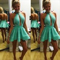 Mint Green High Neck Halter Backless Homecoming Dress With Keyhole