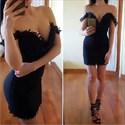 Black Applique Off The Shoulder Short Sheath Homecoming Dress