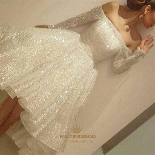 White Sequin Embellished Off The Shoulder Long Sleeve Cocktail Dress