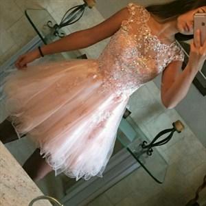 Blush Pink Sheer Lace Applique Cap Sleeve Short Cocktail Dress