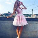 Pink V Neck Long Sleeve Sheer Lace Applique Short Homecoming Dress