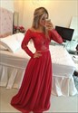 Red Sheer Lace Long Sleeve Beaded Waist Full Length Bridesmaid Dress