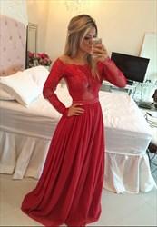 Red Sheer Lace Long Sleeve Beaded Waist Full Length Bridesmaid Dress